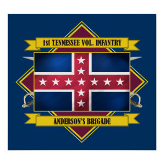 1st Tennessee Vol Infantry (Flags 3) Poster