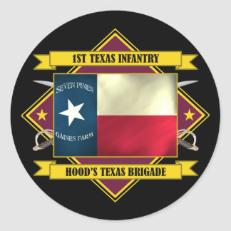 1st Texas Infantry (Flags 3) Classic Round Sticker