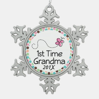 1st Time Grandma personalized gift Snowflake Pewter Christmas Ornament