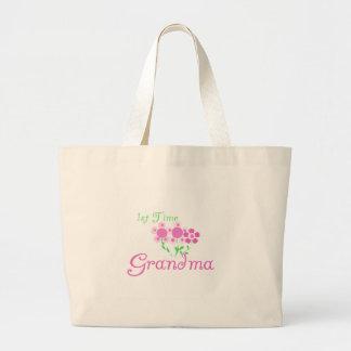 1st  Time Grandma-Pink Flowers Tote Bag