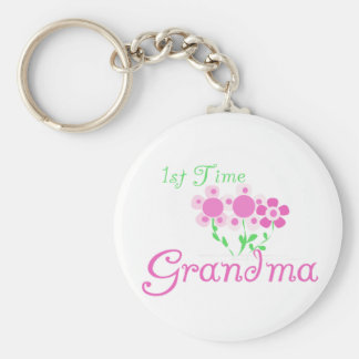 1st  Time Grandma-Pink Flowers Basic Round Button Keychain