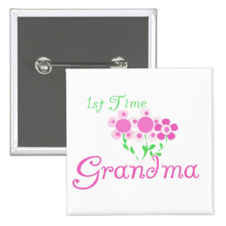 1st  Time Grandma-Pink Flowers 2 Inch Square Button