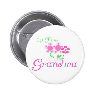 1st  Time Grandma-Pink Flowers Button
