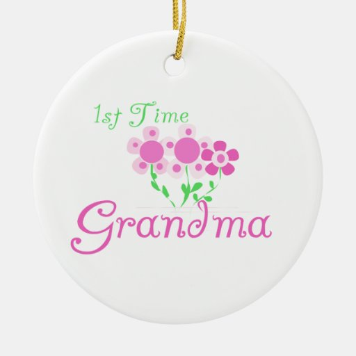 1st Time Grandma Pink Flowers Gifts Ornaments