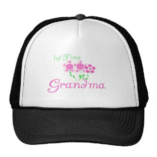 1st  Time Grandma-Pink Flowers Hats