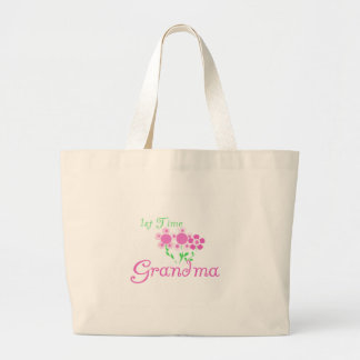 1st  Time Grandma-Pink Flowers Large Tote Bag