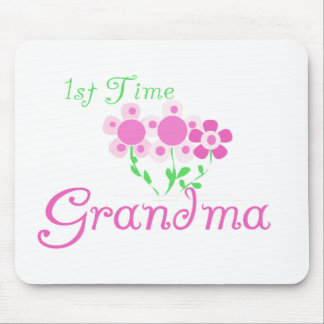 1st  Time Grandma-Pink Flowers Mouse Pad