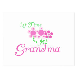 1st  Time Grandma-Pink Flowers Postcard