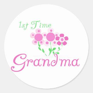 1st  Time Grandma-Pink Flowers Classic Round Sticker
