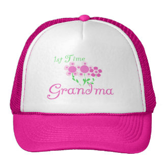 1st  Time Grandma-Pink Flowers Trucker Hat