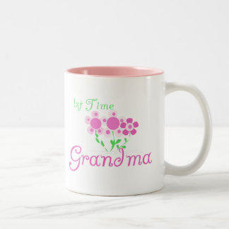 1st  Time Grandma-Pink Flowers Two-Tone Coffee Mug