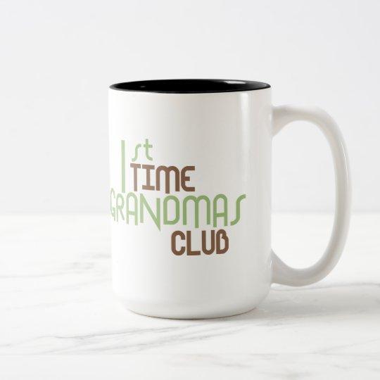 1st Time Grandmas Club (Green) Two-Tone Coffee Mug