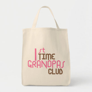 1st Time Grandpas Club (Pink) Grocery Tote Bag
