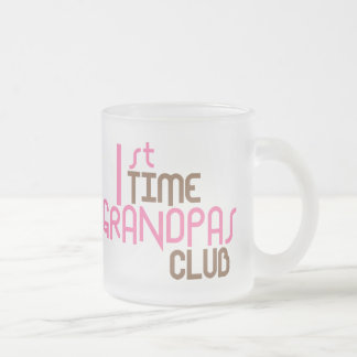 1st Time Grandpas Club (Pink) Frosted Glass Coffee Mug