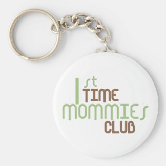 1st Time Mommies Club Green Basic Round Button Keychain