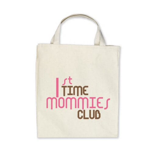 1st Time Mommies Club (Pink) Canvas Bag