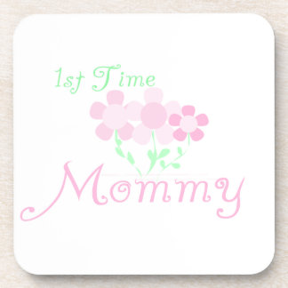 1st Time Mommy Pink Flowers Gifts Drink Coasters