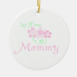 1st Time Mommy Pink Flowers Gifts Double-Sided Ceramic Round Christmas Ornament