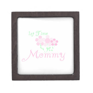 1st Time Mommy Pink Flowers Gifts Premium Jewelry Box
