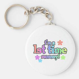 1st Time Mommy-Rainbow T-shirts and Gifts Basic Round Button Keychain