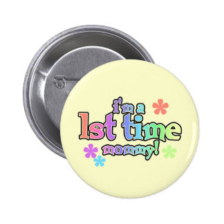 1st Time Mommy-Rainbow T-shirts and Gifts Button