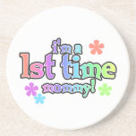 1st Time Mommy Rainbow Text Gifts Beverage Coaster