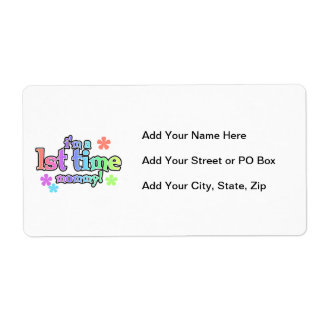 1st Time Mommy Rainbow Text Gifts Shipping Label
