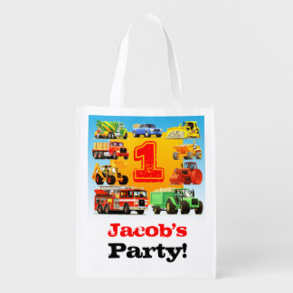 1st Truck Birthday Party Grocery Bag