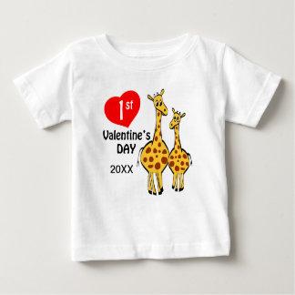 1st Valentines Day Giraffe Theme Baby T-Shirt