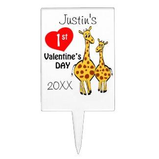 1st Valentines Day Giraffe Theme Cake Topper