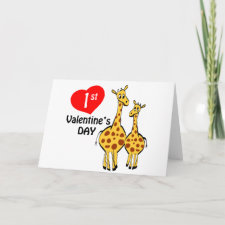 1st Valentines Day Giraffe Theme Greeting Card