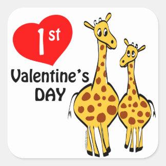 1st Valentines Day Giraffe Theme Square Sticker