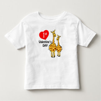 1st Valentines Day Giraffe Theme Toddler T-shirt