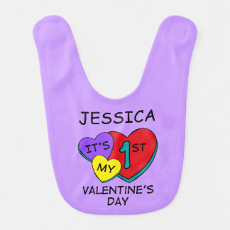 1st Valentine's Day Hearts Bib