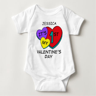 1st Valentine's Day Hearts Infant Creeper