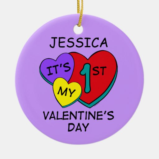 1st Valentine's Day Hearts Personalized Ornament