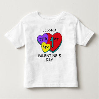 1st Valentine's Day Hearts Toddler T-Shirt