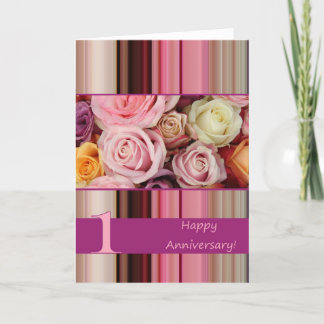 1st Wedding Anniversary Card - Pastel roses stripe