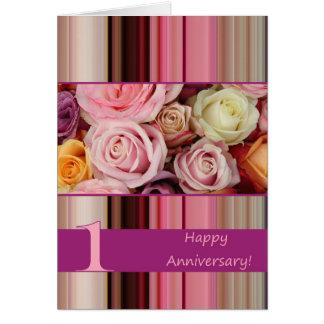 1st Wedding Anniversary Card - Pastel roses stripe