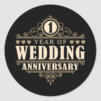 1st Wedding Anniversary Classic Round Sticker