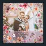 "1st Wedding Anniversary Decorative Flowers Clock<br><div class=""desc"">1st Wedding Anniversary Decorative Floral Photo Frame Wall Clock.</div>"