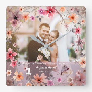 1st Wedding Anniversary Decorative Flowers Clock