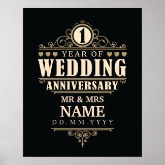 1st Wedding Anniversary || Elegant Poster