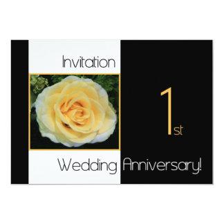 1st Wedding Anniversary Invitation - Yellow Rose