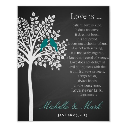 St wedding anniversary love is corinthains poster zazzle