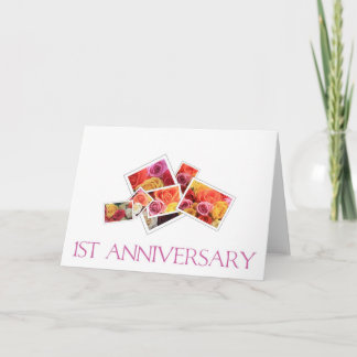 1st Wedding Anniversary mixed rose bouquet Card