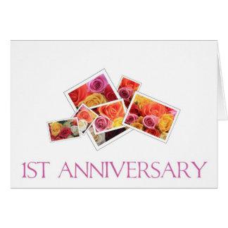 1st Wedding Anniversary mixed rose bouquet Card