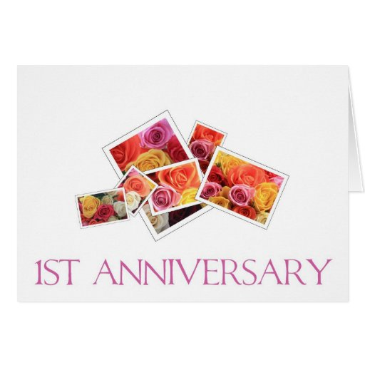 St wedding anniversary mixed rose bouquet card zazzle