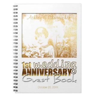 1st Wedding Anniversary Modern Custom Guest Book Notebook