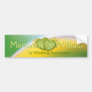 1st Wedding Anniversary Party Decoration Bumper Sticker